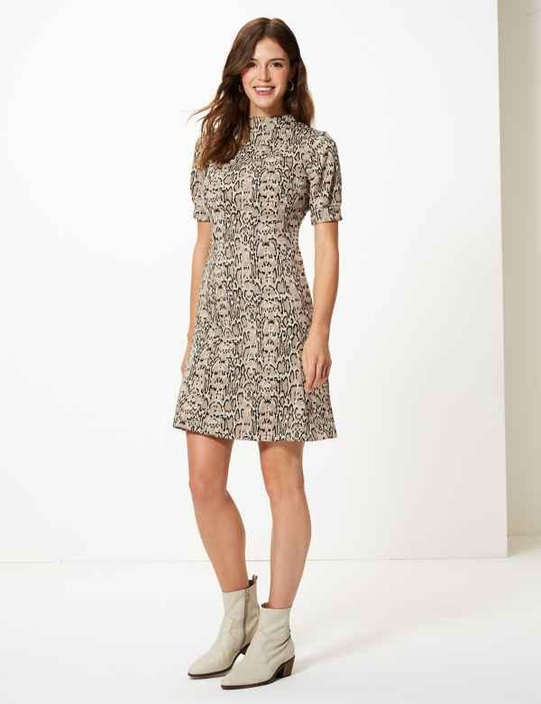 Animal Print Shift Mini Dress 65e24f01440f