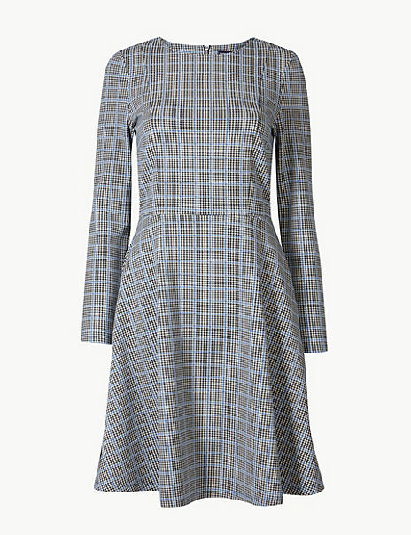 Checked Fit & Flare Knee Length Dress