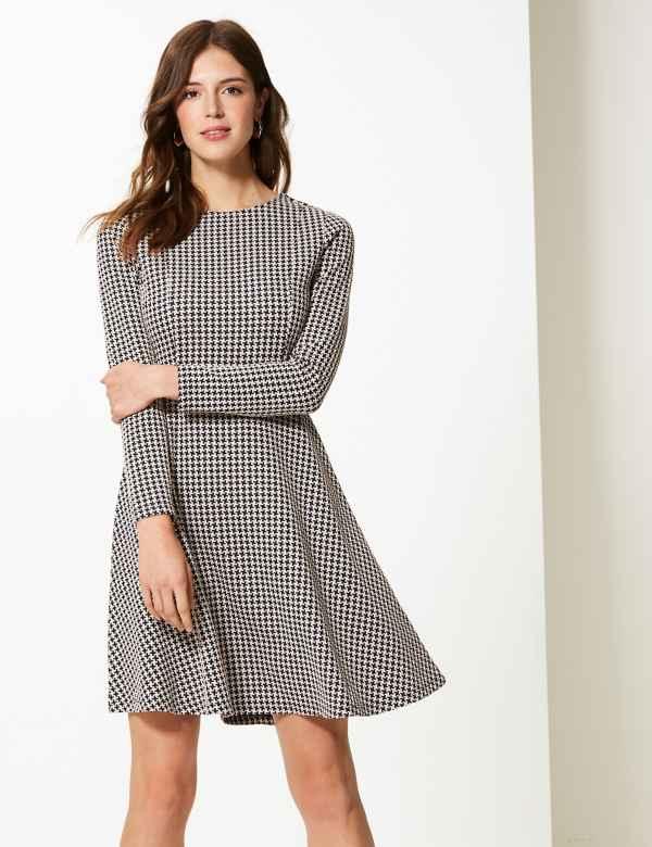 c4e74fbfeec Textured Fit   Flare Knee Length Dress