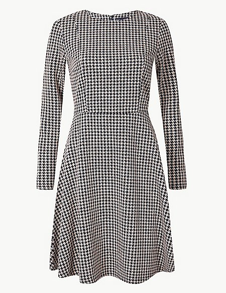 Textured Fit & Flare Knee Length Dress
