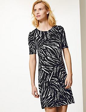 670103af7b07 Animal Print Jersey Knee Length Swing Dress ...