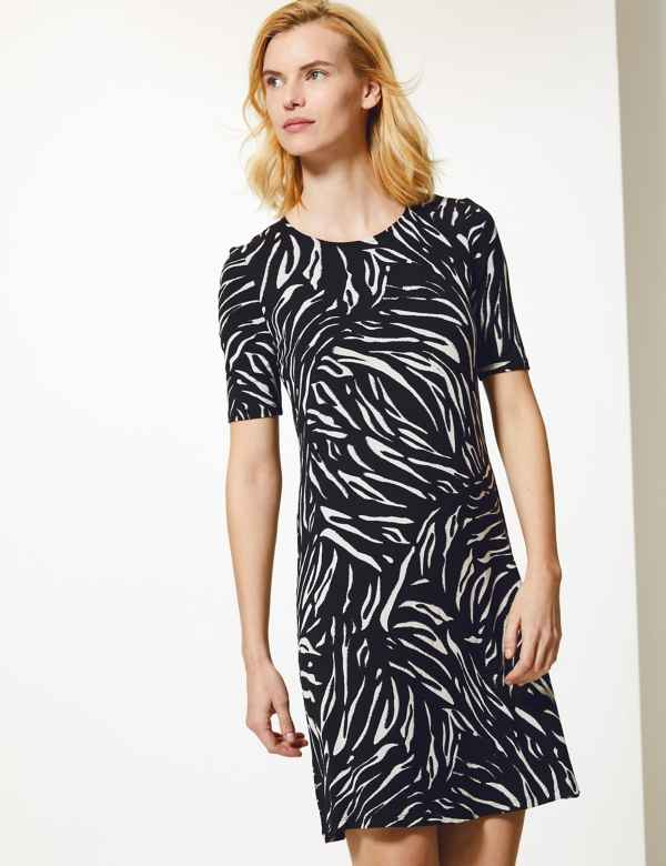 41272ab940 Animal Print Jersey Knee Length Swing Dress