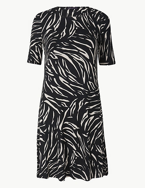 Animal Print Jersey Knee Length Swing Dress