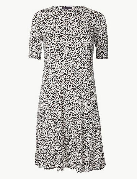 Animal Print Jersey Swing Dress