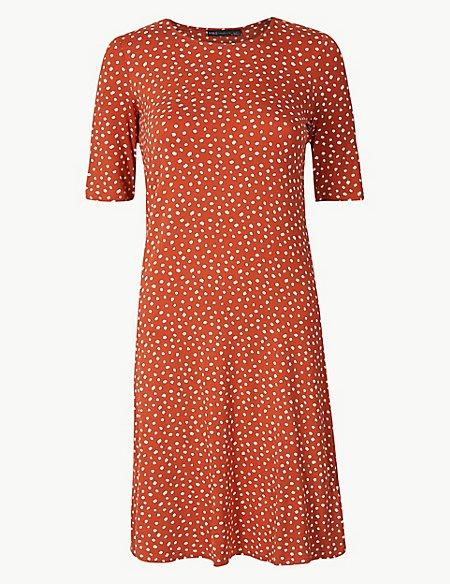 Spotted Jersey Knee Length Swing Dress