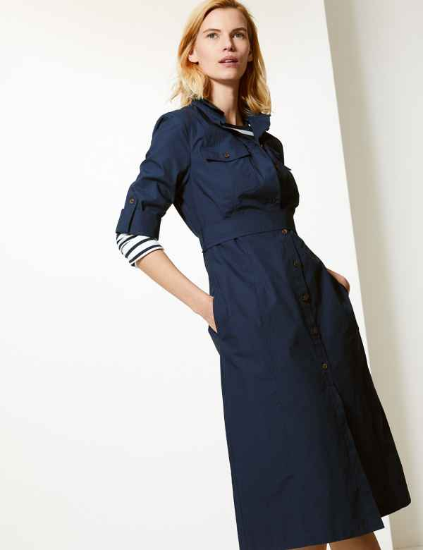 beecce57d061 Pure Cotton Midi Shirt Dress