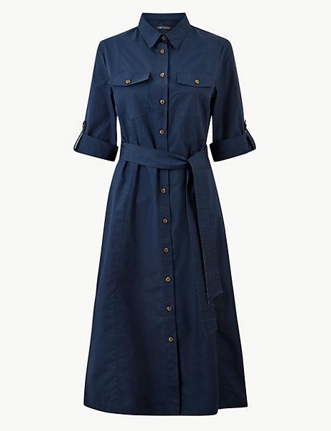Pure Cotton Shirt Midi Dress