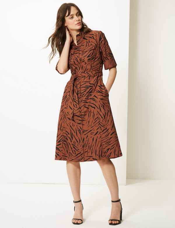 79ce5456754 Pure Cotton Animal Print Shirt Dress