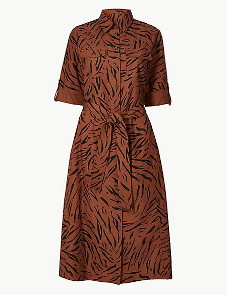 Pure Cotton Animal Print Shirt Dress