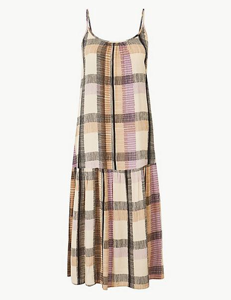 Checked Slip Midi Dress