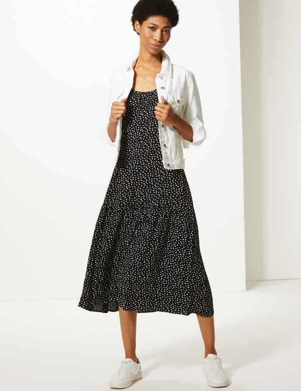 7f96a9e48838d Polka Dot Slip Midi Dress