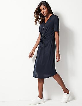 f6e51dda298 Tričkové midi šaty s nbsp dlouhým rukávem a nbsp zavazováním ...