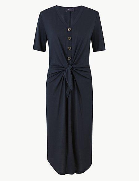 Tie Front T-Shirt Midi Dress