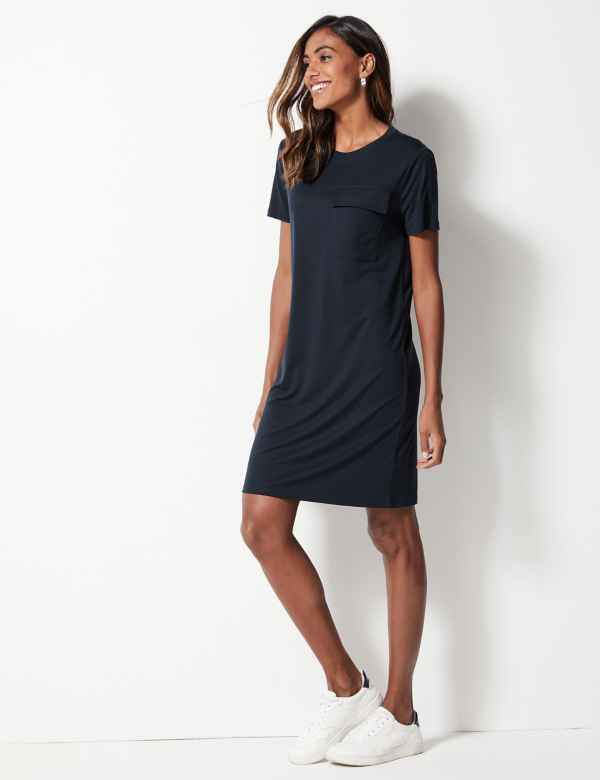 warehouse patch pocket tie front dress