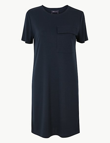 Pocket Front Mini T-Shirt Dress