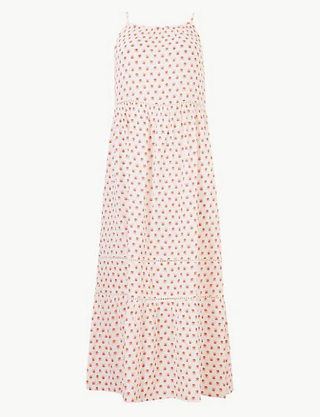 Pure Cotton Floral Print Slip Midi Dress