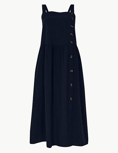 Pure Cotton Midi Waisted Dress