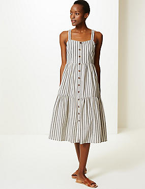 07b439410c2 Fond de robe midi 100 nbsp % coton à rayures