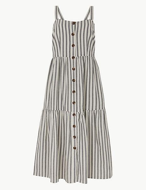 Pure Cotton Striped Slip Midi Dress