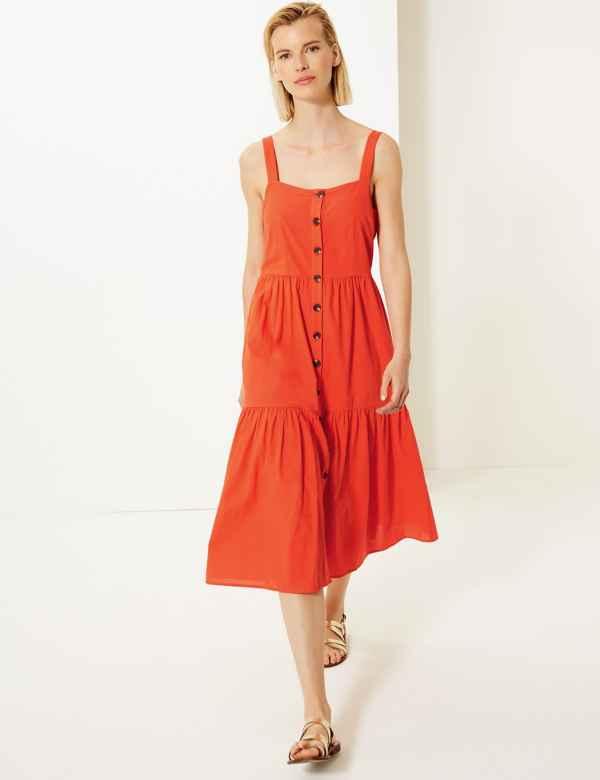 79487b19ec6c Pure Cotton Button Detailed Midi Slip Dress