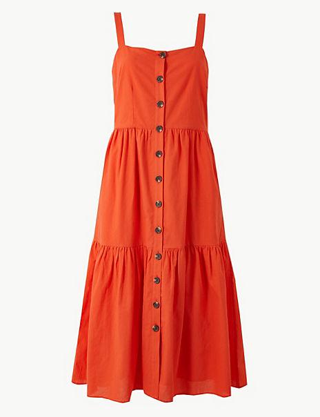 Pure Cotton Button Detailed Slip Midi Dress