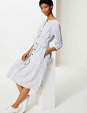 5c9e81a86745 Pruhované midi šaty ze směsi bavlny se zvýrazněným pasem