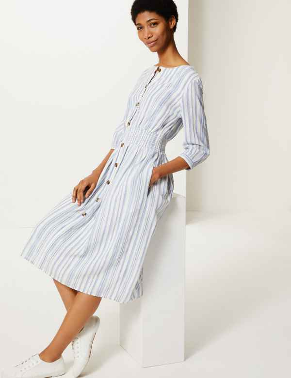 8ffe7b0450 Linen Rich Striped Midi Waisted Dress