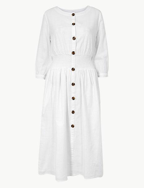 Pure Cotton 3/4 Sleeve Waisted Midi Dress