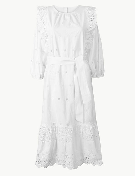 Pure Cotton Embroidered Waisted Midi Dress