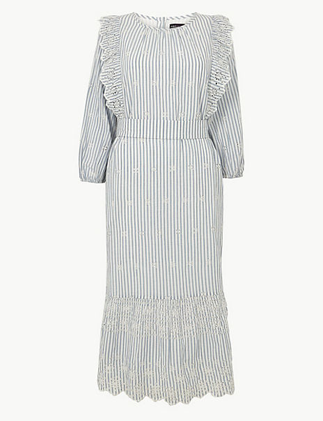 Pure Cotton Striped Waisted Midi Dress