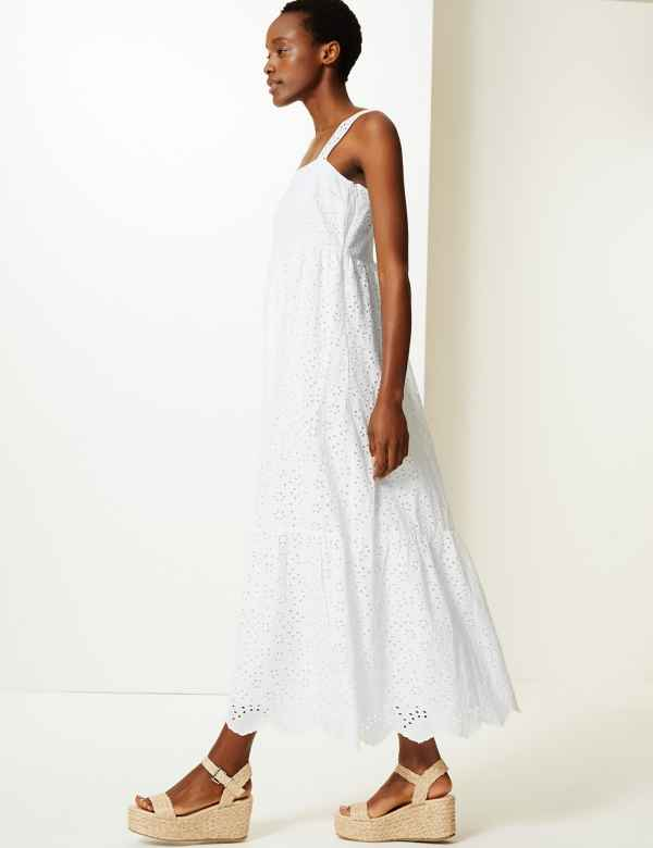 3956bbff2d1 Pure Cotton Embroidered Waisted Maxi Dress