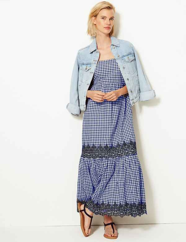 f1843778f01 Pure Cotton Gingham Slip Maxi Dress