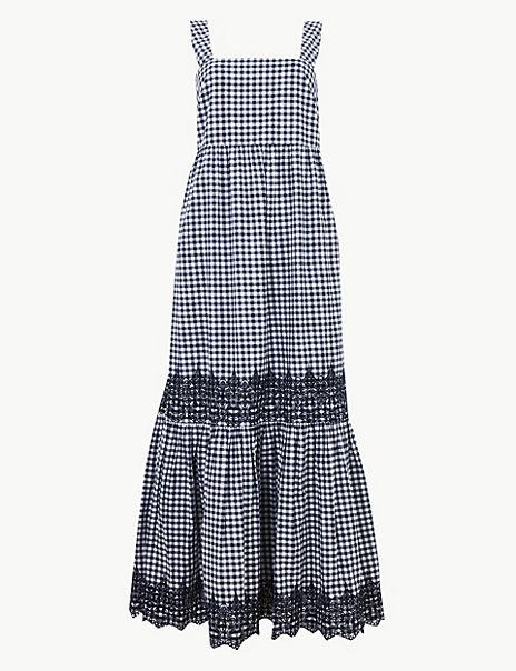 Pure Cotton Gingham Slip Maxi Dress