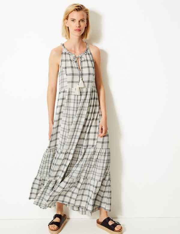 801dd4c6a1f48e Cotton Blend Checked Relaxed Maxi Dress