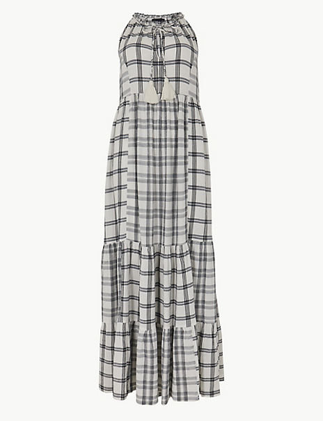 Cotton Blend Checked Relaxed Maxi Dress