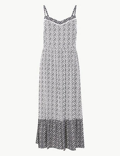 Geometric Print Slip Midi Dress