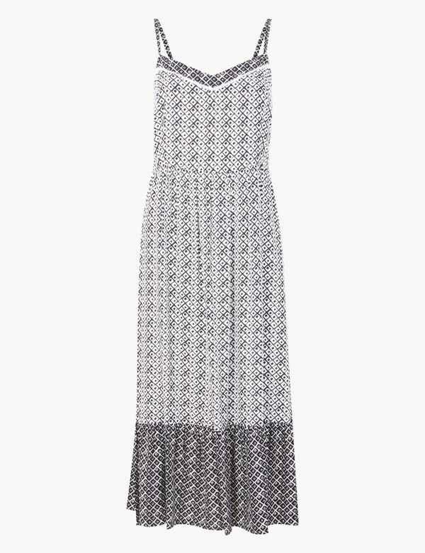 700ce5b226 Geometric Print Midi Slip Dress