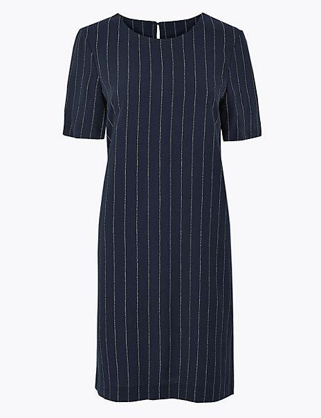 Striped Woven Shift Dress