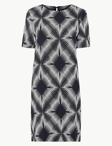 Printed Woven Shift Dress
