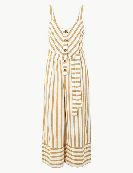 Linen Rich Striped Button Detailed Jumpsuit