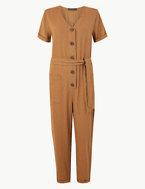 Linen Rich Button Detailed Belted Jumpsuit