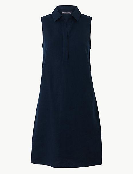Pure Linen Shirt Mini Dress