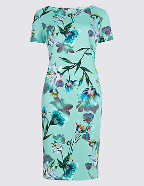 Floral Print Scuba Shift Dress