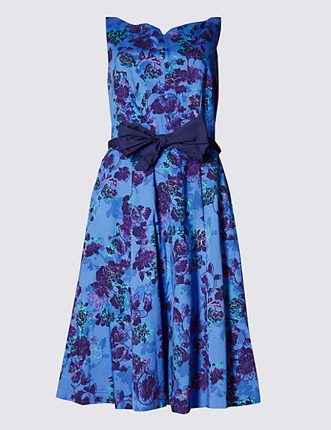 Cotton Rich Floral Fit & Flare Prom Dress