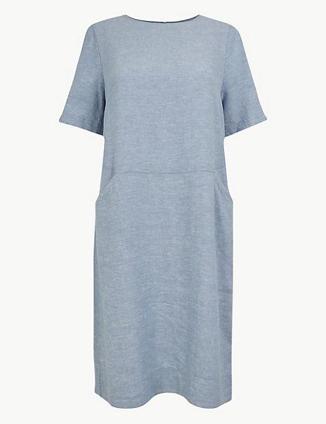 Linen Rich Shift Midi Dress