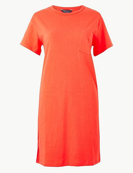 Pure Cotton Patch Pocket T-Shirt Dress