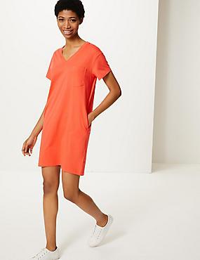 32650da4180fba T-shirt-jurk van zuiver katoen met opgenaaide zak