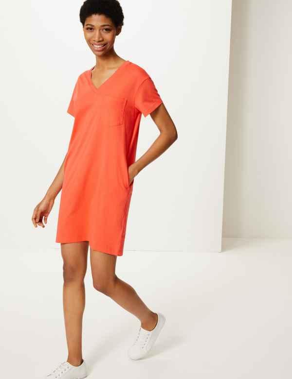 94e403eb2 Pure Cotton Patch Pocket T-Shirt Dress