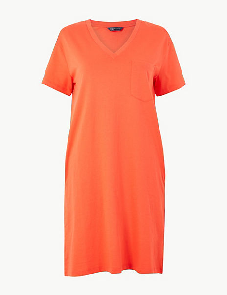 Pure Cotton Patch Pocket T-Shirt Dress