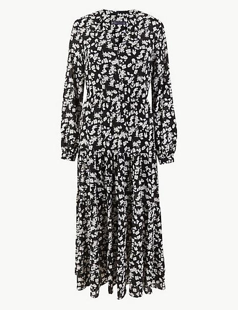 Floral Print Waisted Maxi Dress